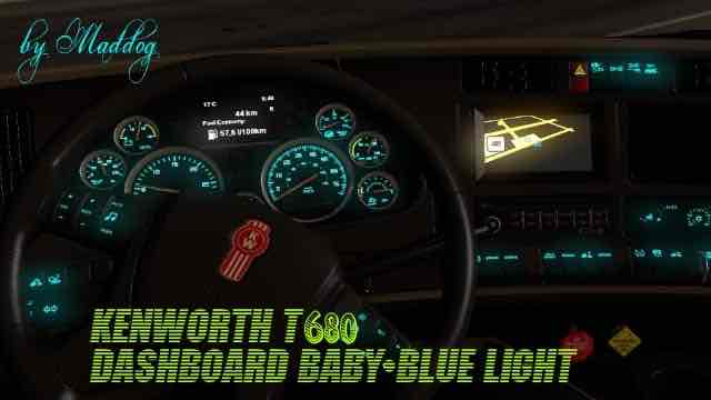 Kenworth T680 Dashboard Baby-Blue Light Mod for American Truck Simulator