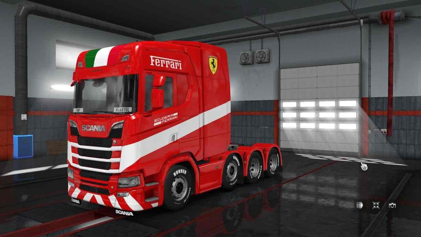 Scania S Next Generation Ferrari Skin & Trailer Mod for Euro Truck Simulator 2