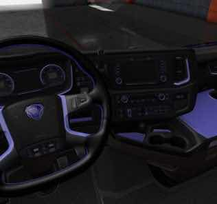 Scania S & R Black – Purple Interior 1.36.X Mod for Euro Truck Simulator 2